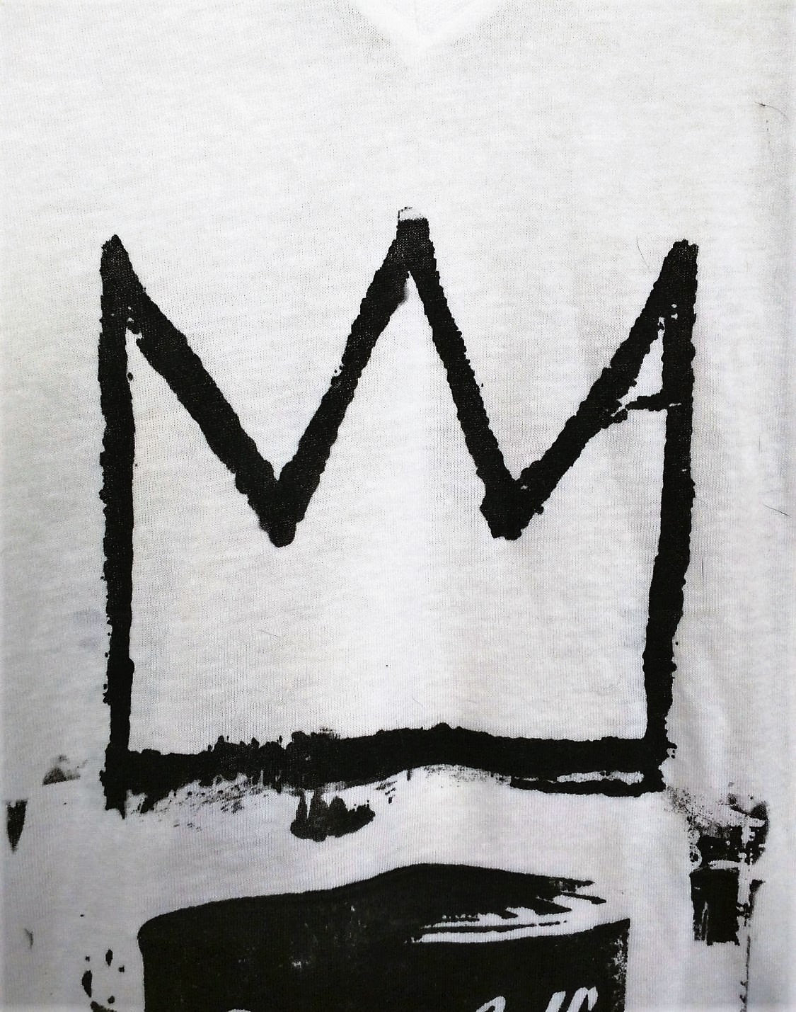 "Unisex T-shirt ""Vegan Soup is King!"" inspired by Warhol w Basquiat Crown"