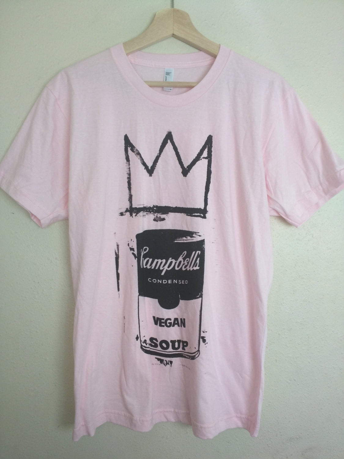 "Unisex T-shirt ""Vegan Soup is King"" Andy Warhol Jean-Michel Basquiat"