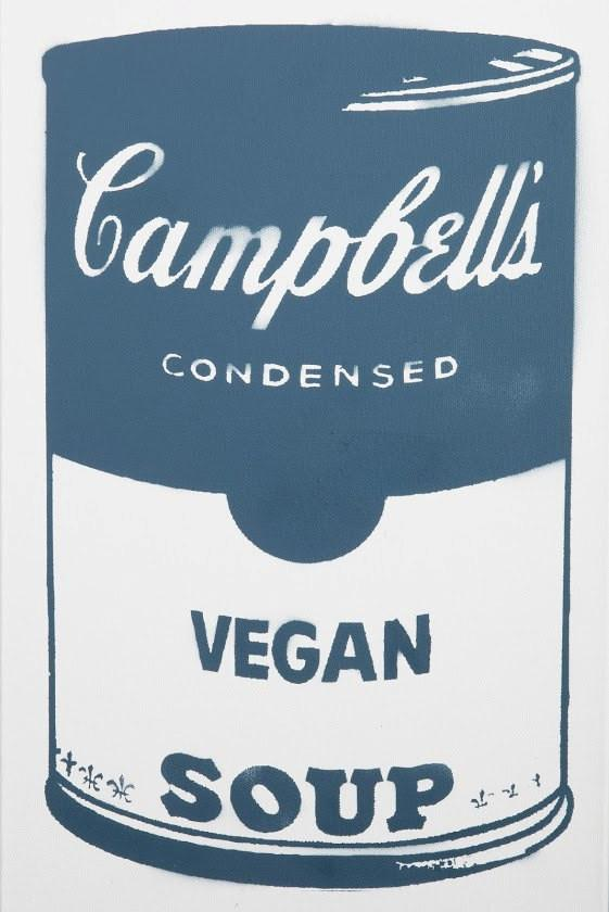 Campbell's Vegan Soup on canvas - Blue 12x24
