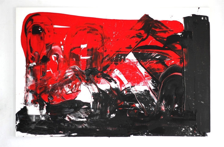 SMITHFIELD SLAUGHTERHAUS - original abstract art painting with red and black colors
