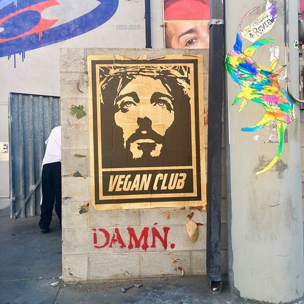 "Street Art NewsPrint Poster Vegan Club featuring Jesus ""Thou Shalt Not Kill!"" Signed L3f0u"