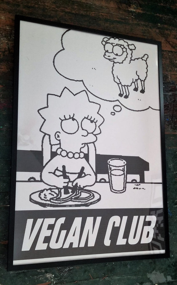 Framed Street Art NewsPrint Poster 24x36 Vegan Club featuring Liza Simpson signed by LeFou