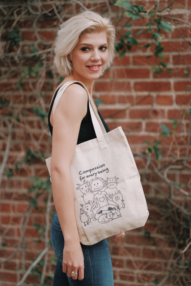 "Tote Bag ""Compassion for Every Being!"" collab Vegan Club with Mary Kollende"