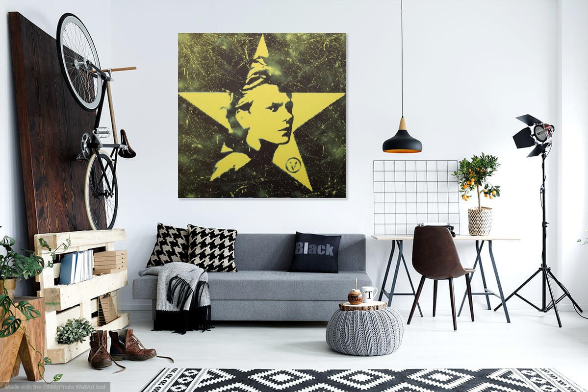 48x48 Original Artwork Vegan Yellow Star featuring River Phoenix