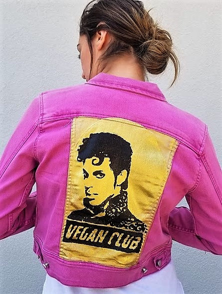 Limited One of a Kind! Upcycled Pink Jean Jacket Vegan Club featuring Prince with gold background
