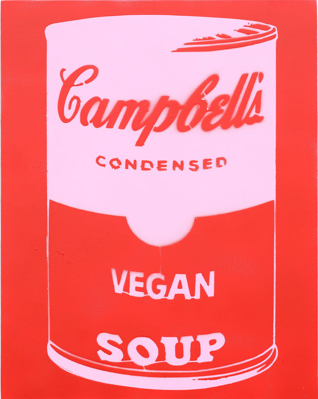 14x11 Original Artwork Vegan Campbell's Soup a la Warhol by Le Fou (red and white)