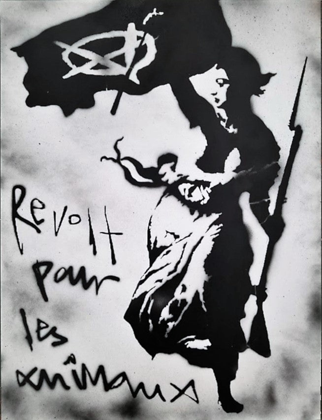 18x24 Original Artwork French Revolution Veganized with Vegan Anarchy logo