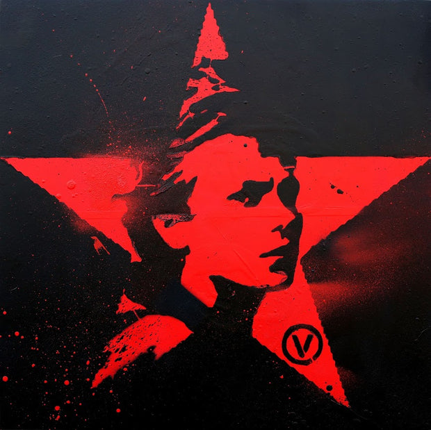 16x16 Original Artwork Vegan Red Star featuring River Phoenix