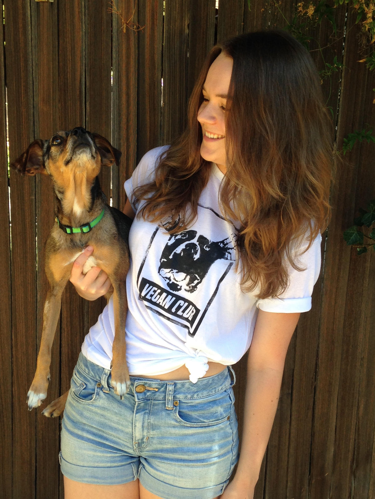 "Unisex T-shirt ""Vegan Club"" featuring VDog V-Dog Handmade by Le Fou - models @marianberry12 @cindypursuit"
