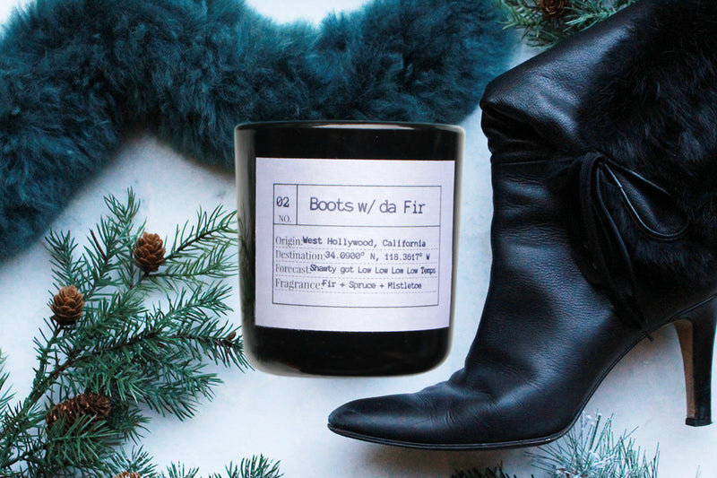 Boots w/ da fir Soy Candle, Slow Burn Candle