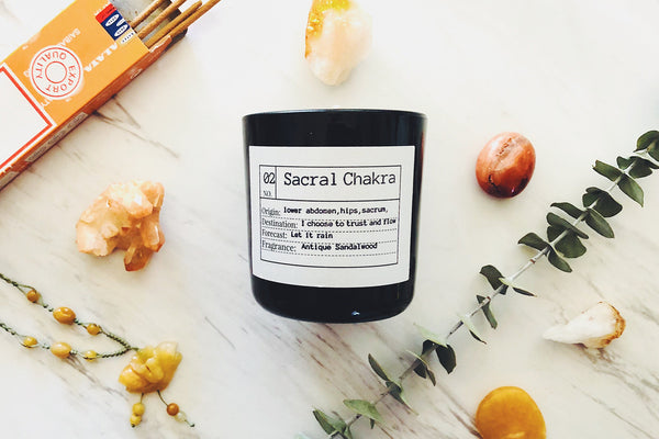Sacral Chakra Soy Candle, Slow Burn Candle