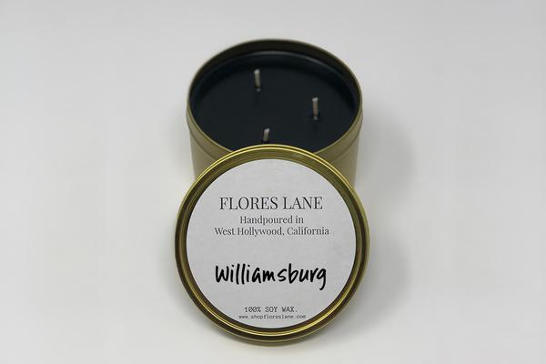 Williamsburg, Brooklyn, New York City, has quarky allure to it that we recreated with warm notes of tobacco mixed with rich patchouli. The candle itself is black (wax) on black (recycled glass jar)  It's made of all natural soy wax and a natural charcoal-based black dye.  Full-Size Approx burn time: 40 hrs + Travel Size Approx burn time: 15 hours + 3 wick Size Approx burn time: 60 hrs +