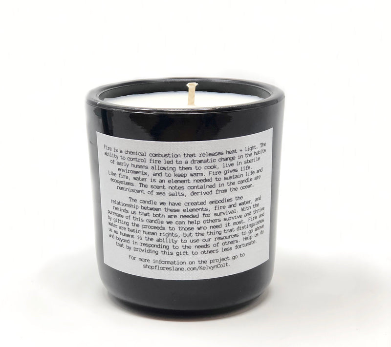 The back of the candle has an explanation as to how we came up with the concept using a candle for causes as well as the scent it contains.
