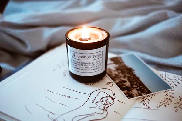 This candle was inspired by the scent of the desert after it rains... an intoxicating blend of cactus blossom + geranium with top notes of a campfire to immerse yourself in the natural landscape of Joshua Tree and the campsites nearby.