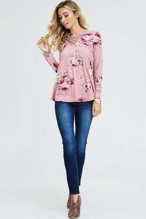 Juliette Floral Top - Dusty Rose - Strong Confident You