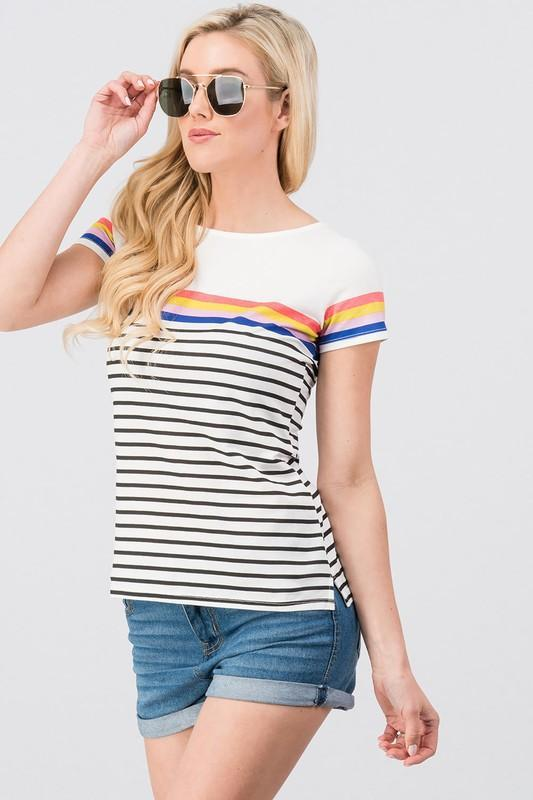 I'm So Striped Tee Shirt - women's boutique clothing Strong Confident You