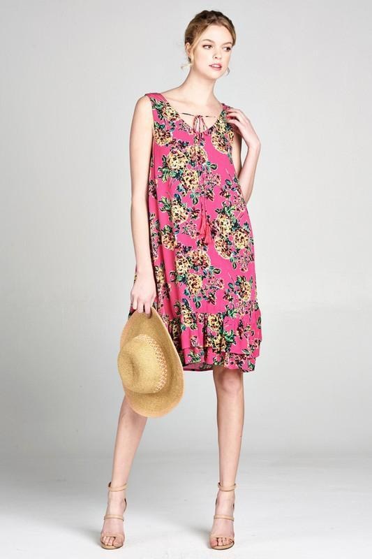 Caterina Pink Floral Dress - Strong Confident You