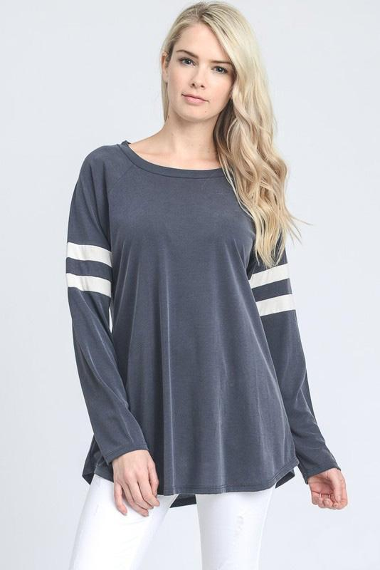 Bailey Baseball Top - Dusty Ink Blue - women's boutique clothing Strong Confident You