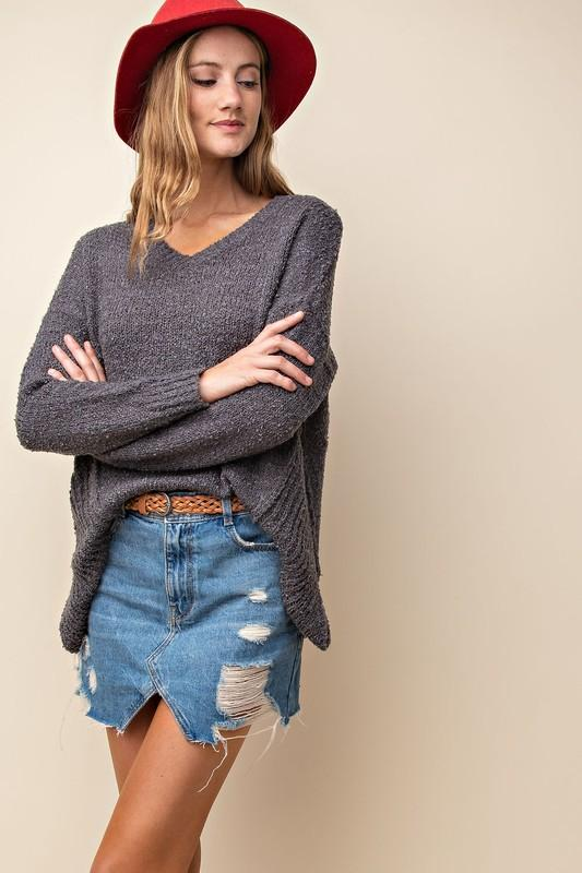 Ella Cozy Sweater -Charcoal - Strong Confident You