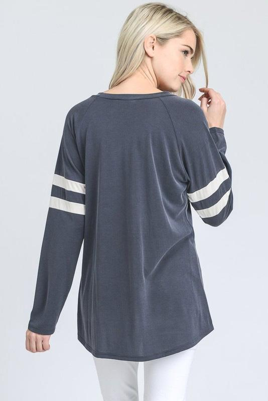 Bailey Baseball Top - Dusty Ink Blue