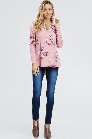 Juliette Floral Top - Dusty Rose - women's boutique clothing Strong Confident You