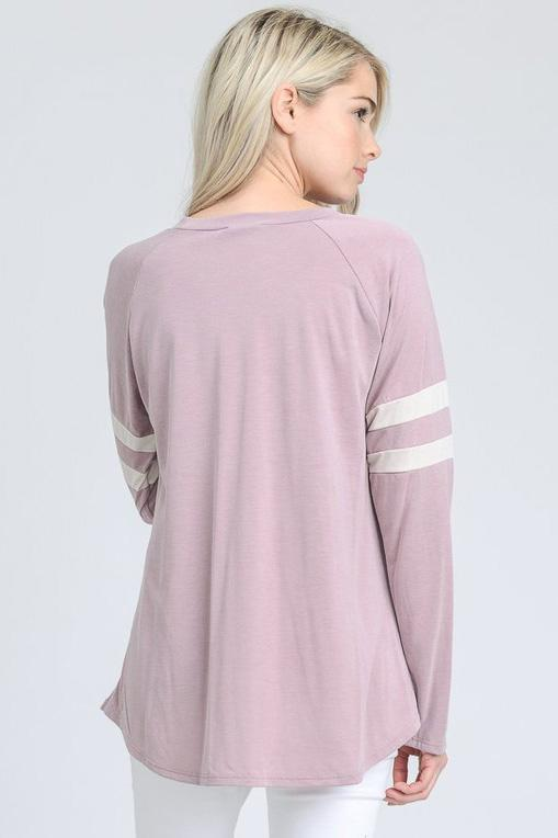 Bailey Baseball Top - Mauve - Strong Confident You