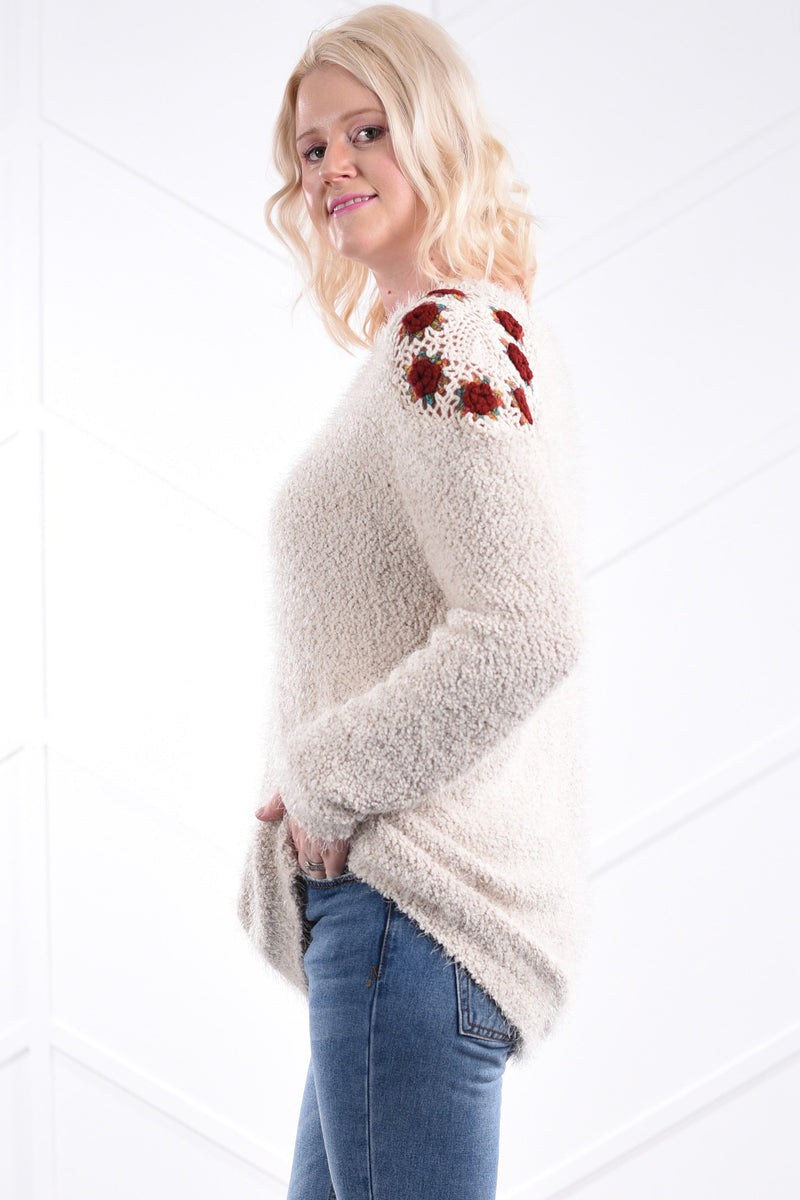 Mara Crochet Sweater - Cream