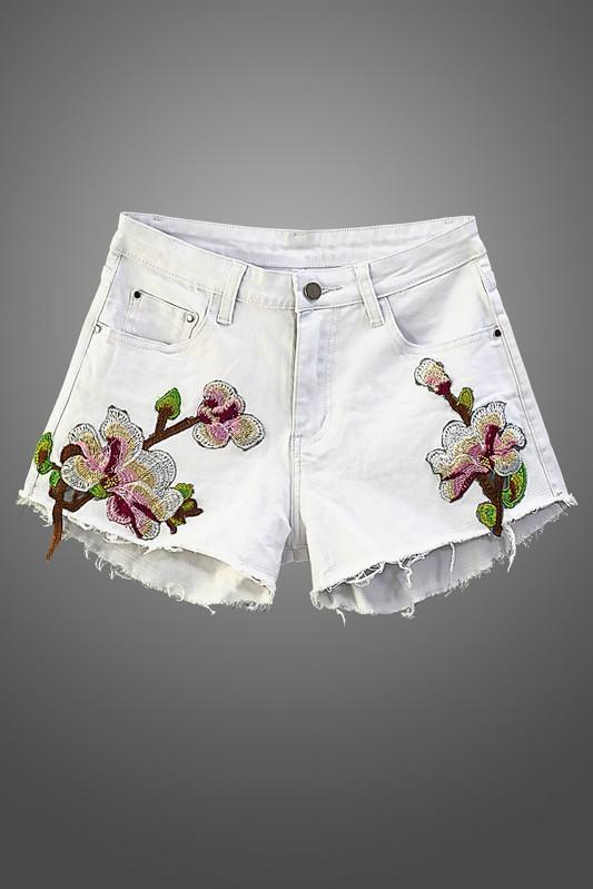 Flowers On My Pocket Jean Shorts - White - Strong Confident You