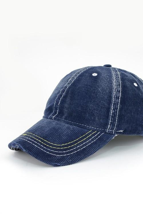 Lori Corduroy Baseball Cap - Navy - women's boutique clothing Strong Confident You