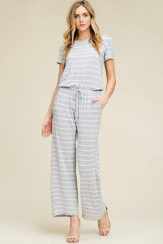 423e2b2e836 Fiona Gray Striped Jumpsuit - women s boutique clothing Strong Confident You