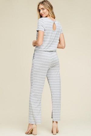 Fiona Gray Striped Jumpsuit - women's boutique clothing Strong Confident You