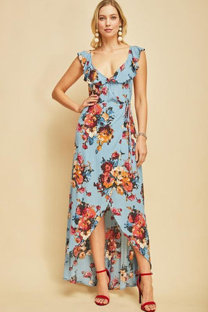 A Dream In Floral Dress - Dusty Blue - women's boutique clothing Strong Confident You