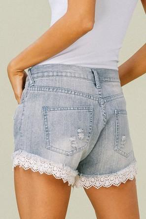 Penelope Lace Jean Shorts - Light Wash - Strong Confident You