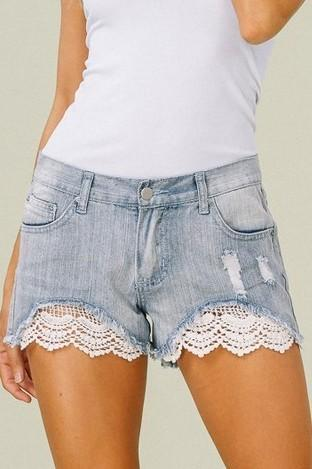 Lacey Jean Shorts - Light Wash - women's boutique clothing Strong Confident You