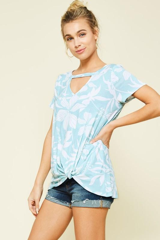 Ava Hibiscus Top - Mint - women's boutique clothing Strong Confident You