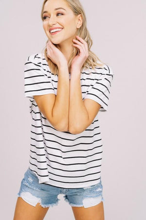 Adeline Striped Keyhole Tee - Strong Confident You