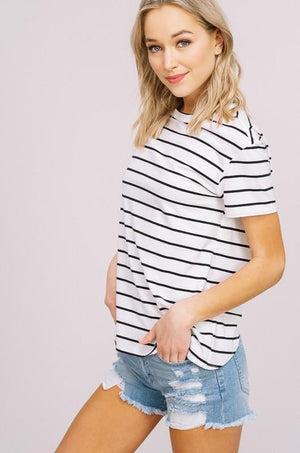 Adeline Striped Keyhole Tee - women's boutique clothing Strong Confident You