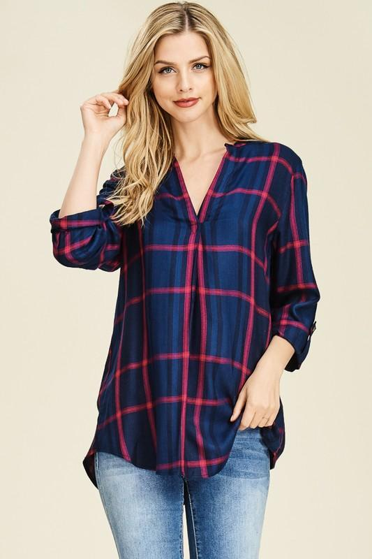 Chloe Flowy Plaid Top - Strong Confident You