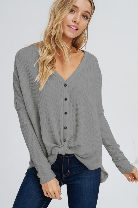 Blair Waffle Tie Top - Charcoal - women's boutique clothing Strong Confident You