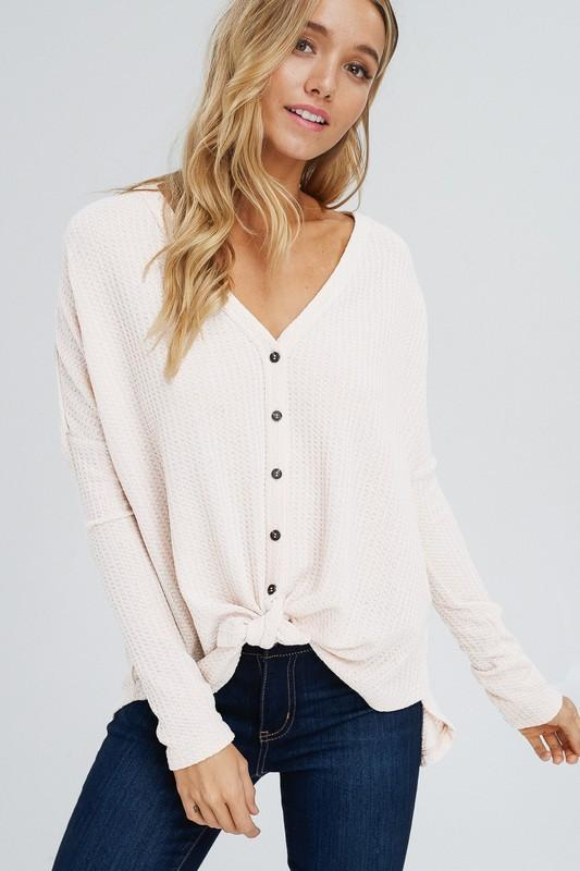 Blair Waffle Tie Top - Off White - women's boutique clothing Strong Confident You
