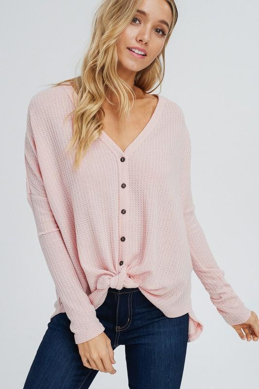 Blair Waffle Tie Top - Blush - women's boutique clothing Strong Confident You