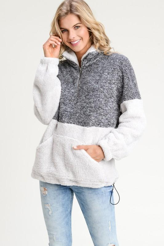 Liana Cozy Zip Up Top - Charcoal - women's boutique clothing Strong Confident You