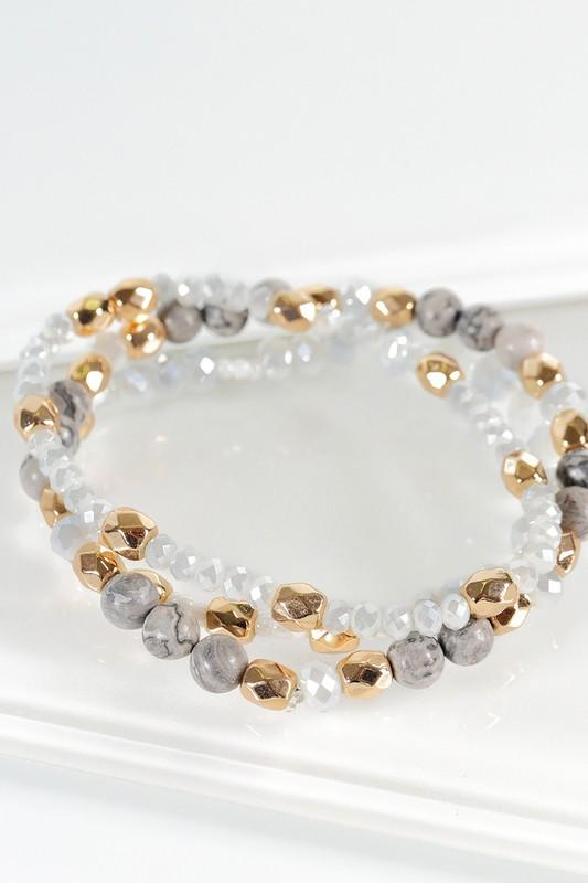 Elisa Stackable Bracelets - Ivory Or Gray - Strong Confident You