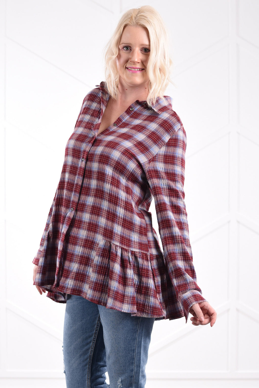 Brenna Ruffle Plaid Blouse - women's boutique clothing Strong Confident You