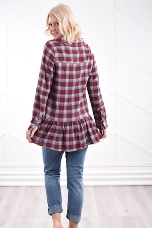 Brenna Ruffle Plaid Blouse - Strong Confident You