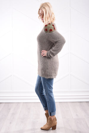 Mara Crochet Sweater - Olive