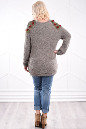 Mara Crochet Sweater - Olive - women's boutique clothing Strong Confident You