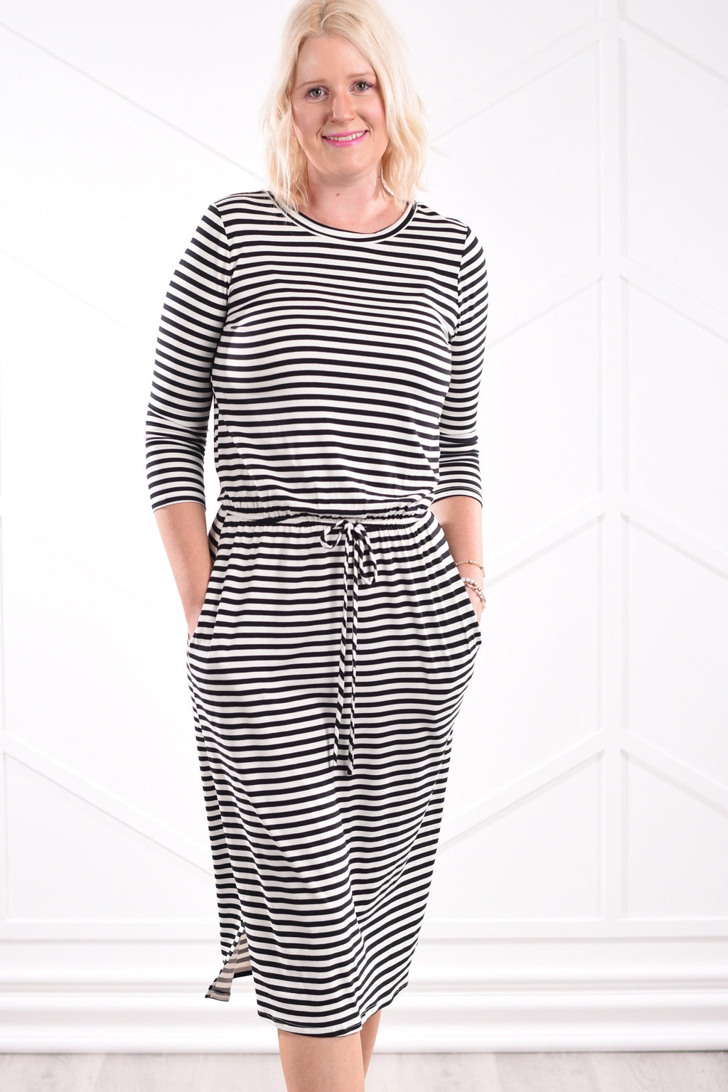 Noelle Striped Dress - Black