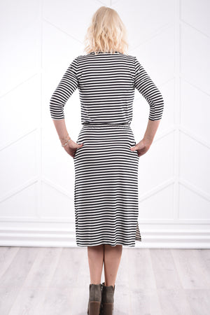 Noelle Striped Dress - Black - Strong Confident You