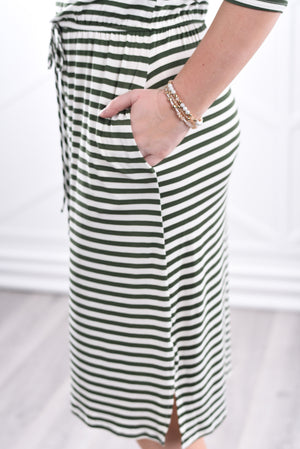 Noelle Striped Dress - Olive - Strong Confident You